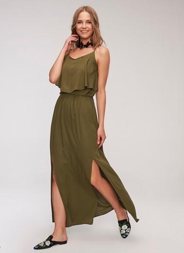 People By Fabrika Yırtmaç Detaylı Elbise Haki